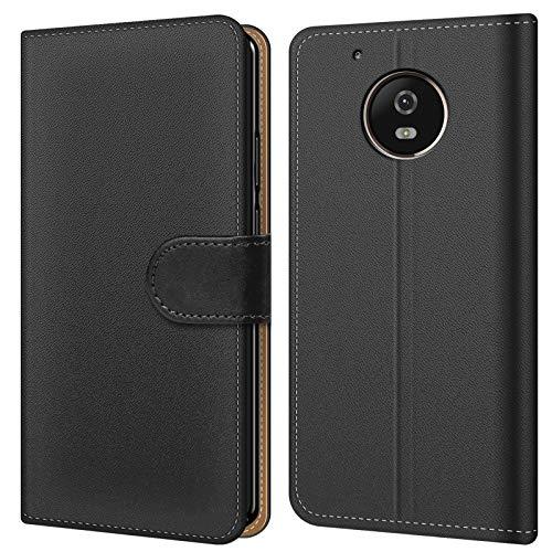 Conie BW23867 Basic Wallet Kompatibel mit Motorola/Lenovo Moto G5 Plus, Booklet PU Leder Hülle Tasche mit Kartenfächer & Aufstellfunktion für Moto G5 Plus Case Schwarz