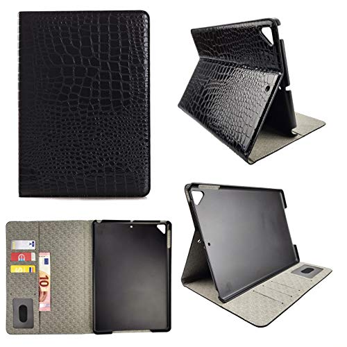Apple iPad Air 2 Tablet Tasche Wallet Case Croco Krokodil Skin Muster Klapp Etui Hülle Schwarz - Brief-fach Deckel
