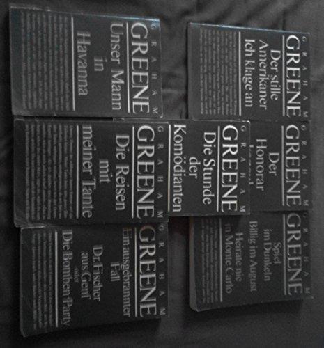Konvolut 7 Titel Graham Greene: Ein ausgebrannter Fall.Dr. Fischer aus Genf oder Die Bombenparty.//Die Reisen mit meiner Tante.//Die Stunde der Komödianten.//Unser Mann in Havanna.//Spiel im Dunkeln.Bikllig im August.Heirate nie in Monte Carlo.//Der stille Amerikaner. Ich klage an.//Der Honorarkonsul.