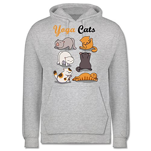 Statement Shirts - Yoga Cats - Männer Premium Kapuzenpullover / Hoodie Grau Meliert