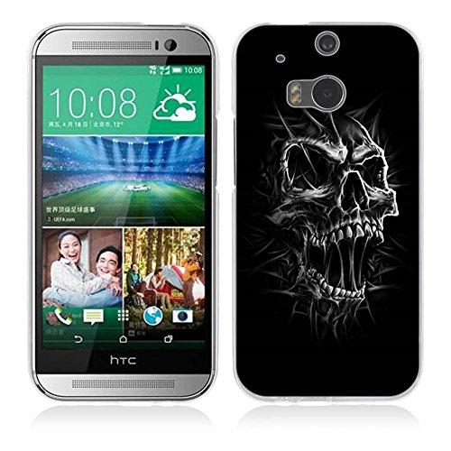 Fubaoda HTC One M8 / M8S Hülle [SchwarzWeiss-Schädelkopf] Kratzfeste Plating TPU Case für HTC One M8 / M8S Case Schutzhülle Silikon Crystal Case Durchsichtig für HTC One M8 / M8S