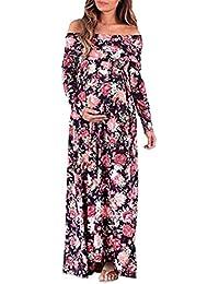 AILIENT Donne Sciolto Vestito di Maternità Abito Senza Spalline Maniche  Lunghe Infermieristica Gravidanza Vestiti Premaman Dress c8f2e0205e0