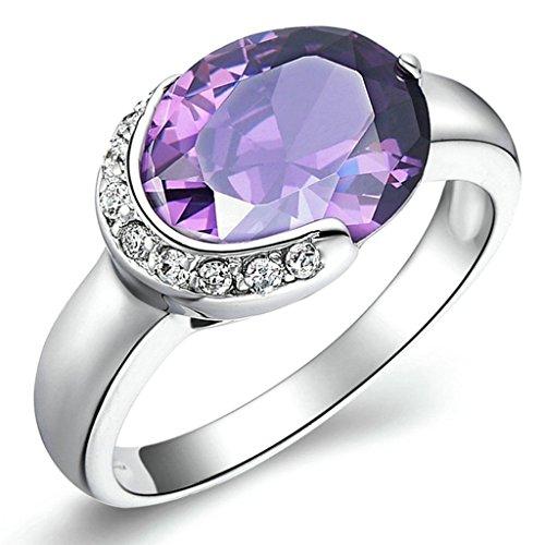 Pimp Kostüm Paar (Daesar Versilbert Damen Ring Silber Verlobungsring Ring Solitär Ring mit Stein Größe:57)