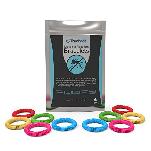TravPack® PREMIUM Silicone Mosquito Repellent Wristbands (x10 Assorted Colours) - KEEP MOSQUITOES AWAY NOW! Market Leading Bug & Insect Repellent, Scientifically Designed With 250 Hours Use Per Bracelet! FREE Delivery When You Buy 2 Packs.
