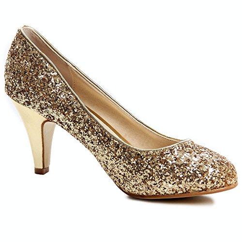 topschuhe24, Scarpe col tacco donna Oro (oro)