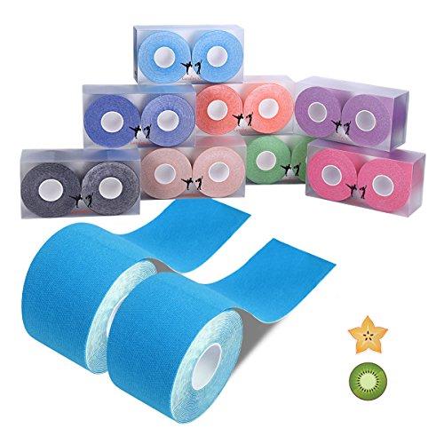 Kinesiologie Tape Sport Body Physio Tapeverband 5m x 5cm,8 Farben auswählbar Goalwoo Tape für Nacken Schulter Rücken Arm Ellenbogen Handgelenk Schenkel knie Knöchel Fuß, inkl.freier Haftmagnet (Schulter Farbe)
