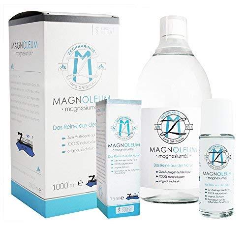 Natürliches Magnesiumchlorid im Set - Magnesiumöl Zechstein - Massageöl als Roll-On + 1000ml Magnesium-Öl Glasflasche - Magnesium-Öl
