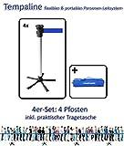 Tempaline Personenleitsystem mit Absperrpfosten -flexibel und portabel- 4er Set - vier Pfosten mit blauem 2m-Band inklusive praktischer Tragetasche