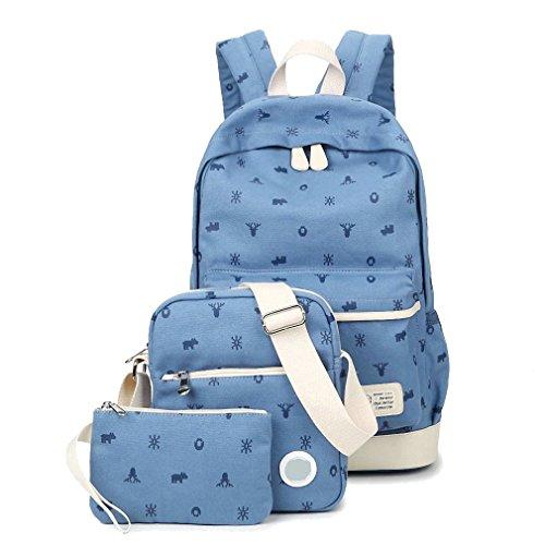 WanYang Unisex Canvas Backpack Tela Zaini Ragazza Zaino Casual Set 3pcs Daypacks Donna+ Messenger Bag + Purse Azzurro