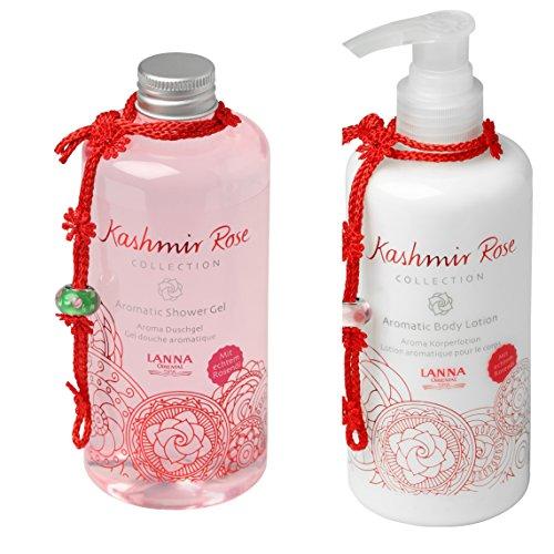 Lanna Oriental Spa Aromatic Kashmir Rose Set Shower-Gel und Body-Lotion je 300ml mit natürlichem Rosenöl -
