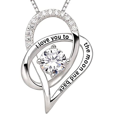 "shankming in argento Sterling 925 con cuore ""I Love You To The Moon and Back collana per Pandora Charm"