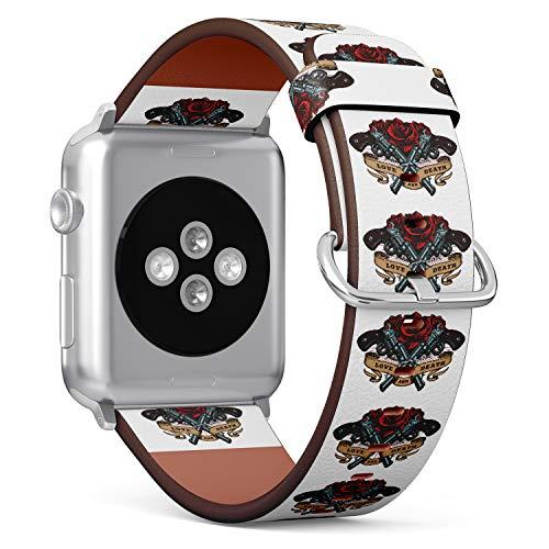 R-Rong kompatibel Watch Armband, Echtes Leder Uhrenarmband f¨¹r Apple Watch Series 4/3/2/1 Sport Edition 38/40mm - Rose and Gun Tattoo Pattern -