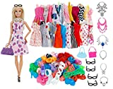 concept-ID - Dressing de Rêve 32 Accessoires / Vêtements / Habits pour Poupée Mannequin 29cm - 10 Robes + 10 Chaussures + 6 Colliers + 4 Paires de Lunettes - 2 Sacs - Style Aléatoire
