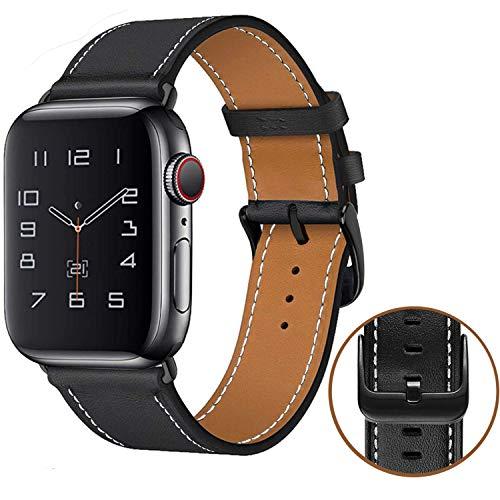 MroTech kompatibel für iWatch Armband 42mm 44mm Leder Schwarz Herren Uhrenarmband Schwarzer Verschluss Lederarmband Ersatzarmband kompatibel für iWatch Series 5 und Series 1 2 3 4 44/42 mm Schwarz