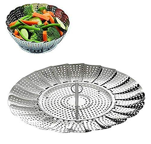 "SYGA Stainless Steel Vegetable Steamer Basket/Insert for Pots, Pans, Crock Pots & More. 7.5"" to 11"""
