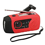 iMinker Portable Emergency Solar Hand Crank Self Powered FM Radio with [2000mAh] USB Power Bank, LED Flashlight, Support TF card MP3 for Outdoor Camping Hiking (Red)