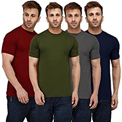 London Hills Solid Men Half Sleeve Round Neck Rust Red, Olive Green, Dark Blue, Grey, T-Shirts Combo (Pack of 4)