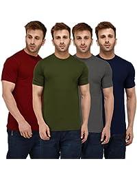 725221b93 London Hills Solid Men Half Sleeve Round Neck Rust Red, Olive Green, Dark  Blue