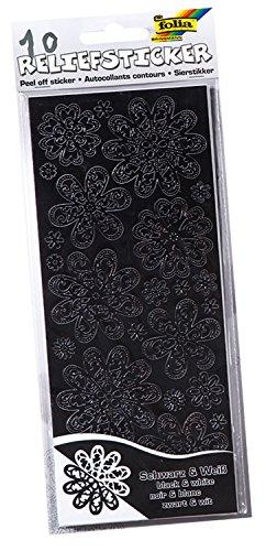 folia 1215 - Relief-Sticker Ganzjahr, ca.10 x 24 cm, 10 Blatt, schwarz - weiß sortiert Relief-blättern