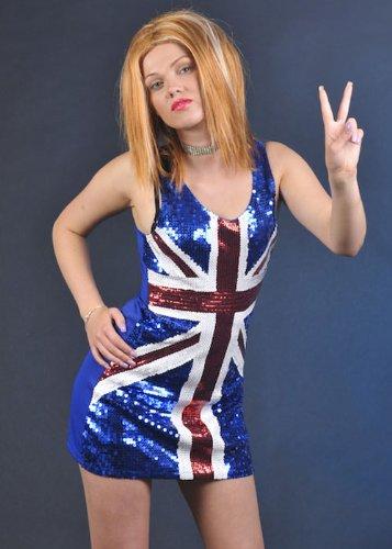 90s Pop Star Geri Ginger Gewürz Union Jack Kleid Medium (UK 12-14)