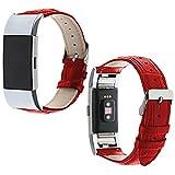 Armband für Fitbit Charge 2 Leder,Sasairy Herren Damen Pu Leder Armband  Sportarmband Uhrenarmband Uhr Erstatzband für Fitbit Charge2 Zur Herzfrequenz und Fitnessaufzeichnung,Unisex-Rot