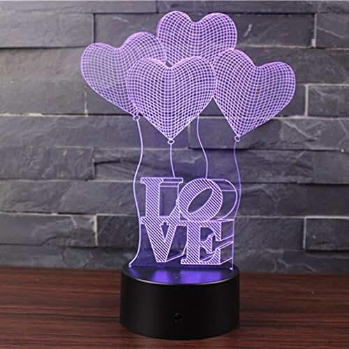 3D Lámpara de Escritorio Mesa 7 cambiar el color botón táctil de escritorio del USB LED lámpara de tabla ligera Decoración para el Hogar Decoración para Día de San Valentín Mejor Regalo (AMOR)