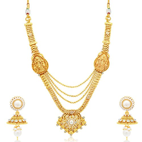 South Indian Traditional Wedding Jewellery Set 3 String Laxmi Temple Gold Plated Long Haram Necklace Set for Women Designer Heavy Ethnic Jwellery Set
