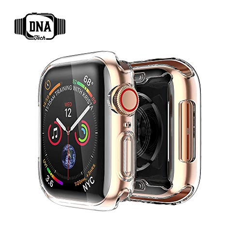 DnA Tech Schutzhülle Für Apple Watch Series 4 by Displayschutz aus Silikon - Ultra Slim 0.3mm - kirstallklar - 40mm & 44mm | Perfekter All-Around-Schutz -