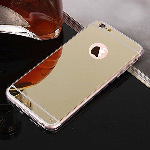 Custodia Specchio in TPU Silicone per Apple iPhone 6S Plus / 6 Plus 5.5, Lusso Ultra Sottile Slim Telefono Cover Case Protettiva in Oro Rosa Riflettente - Oro Rosa Oro