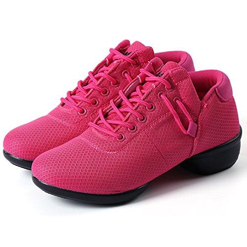 ... Oasap Women's Breathable Mesh Lace-up Soft Sole Dance Shoes Fuchsia ...