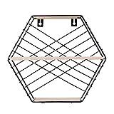 iVansa Wandregal Ø25 x 11,3 x 28 cm mit 3 Ebenen Schwarz Sechseck Wandboard Hängeregal - Vintage Wandregal aus Holz und Metall Natur Stil - Wanddekorationen für Wohnzimmer Büro