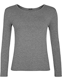 WearAll New Ladies Plus Size Long Sleeve T-Shirt Womens Stretch Plain Top Sizes 16 18 20