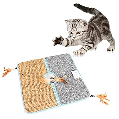 Aolvo Cat Scratcher, Double Sided Natural Tanzania Sisal Cat Scratching Mat Pad Cardboard, Soft and Unbroken, Interactive Cat Scratch Mat Scratcher Replacement with 2 Cat Feather Teaser Toy 1