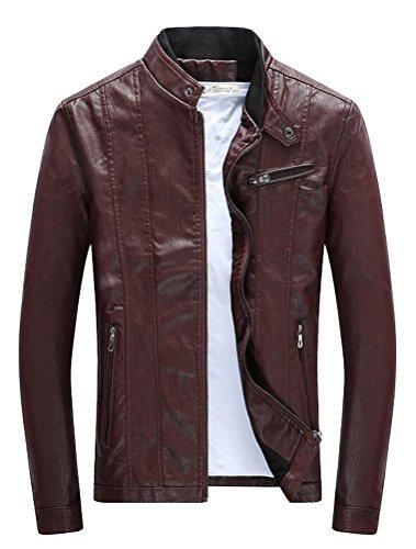Vogstyle Hommes Veste Fit Basic Biker Cuir Style-4 Rouge