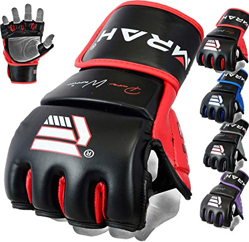 EMRAH Leather Grappling Gloves Fight Boxing MMA Punch Bag Training Martial Arts