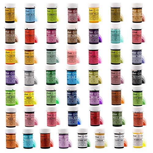 Cake Decorating Gel (Volles Set von 50 SUGARFLAIR essbaren konzentrierten Gel-Lebensmittelfarben - Kuchenverzierungwesensmerkmale)
