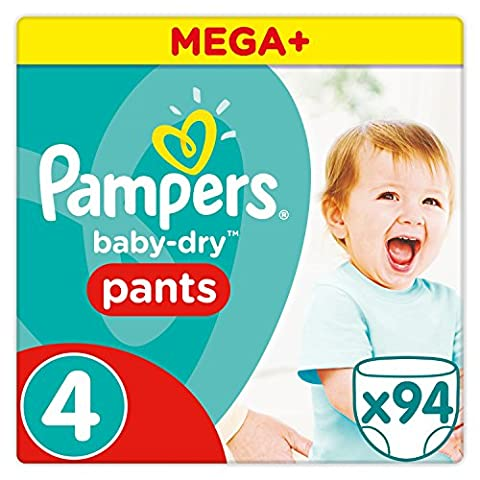 Pampers - Baby Dry Pants - Couches Taille 4 (8-15kg/Maxi) - Mega+ Pack (x94 culottes)