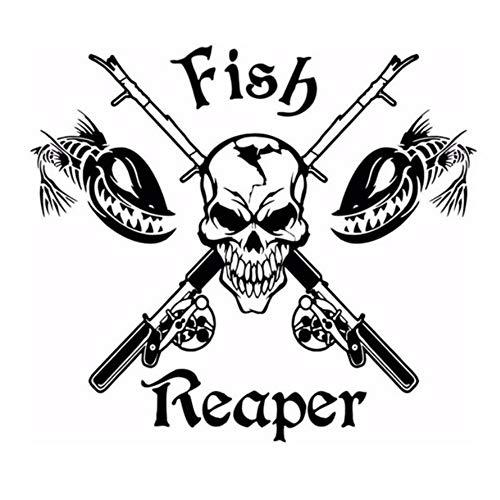 Angeln Aufkleber Schädel Fisch Reaper Aufkleber Angeln Haken Tackle Shop Poster Vinyl Wandtattoos Hunter Decor Wandaufkleber 58 Cm X 65 Cm
