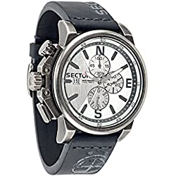 Sector No Limits 450 Men's Quartz Watch with Silver Dial Chronograph Display and Black Leather Strap R3271776008