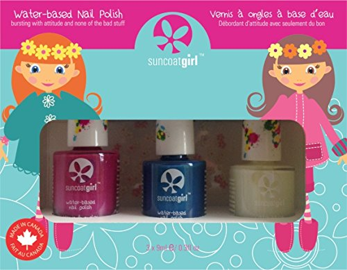 Suncoat Girl Mermaid Princess Kit de 3 esmalte de uñas al agua para niño