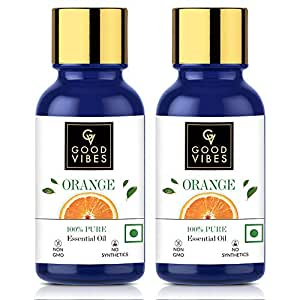 Good Vibes 100% Pure Orange Essential Oil (Pack of 2) - 10 ml x 2 - Helps Reduce Acne & Promotes Hair Growth - Cruelty Free