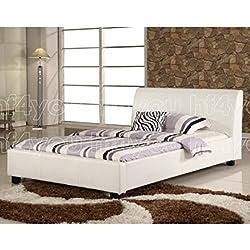 Hf4you Valencia PU Leather Bedstead - 4FT6 Double - White