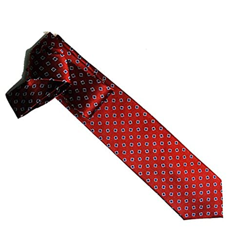100% pure silk woven neckties FLORAL SQUARE (red/navy/white)