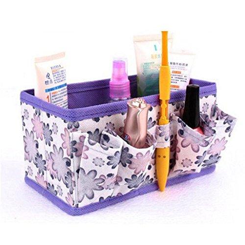 Bonjouree Coffrets De Maquillage De Rangement Pliable Conteneur De L'Organisateur Fixe (Violet)