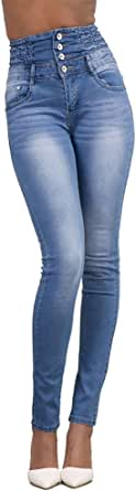 Jeans Vita Alta Donna Skinny Denim Pantaloni Slim Fit Legging Elasticizzati