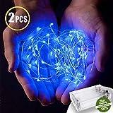 LED Lichterkette mit Batterie,Morbuy Innen Dekoration Kupferdraht LED Außen Wasserdicht Micro Licht für Innenbeleuchtung Hochzeit Weihnachten und Haus Deko (blaues Licht, 2m/ 20 LEDs)