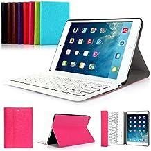 CoastCloud color rosado funda Cubierta protectora cuero PU con Teclado Inalambrico QWERTY espanol para iPad mini 2 con Bluetooth