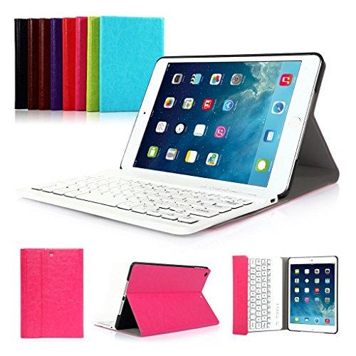 CoastCloud color rosado funda Cubierta protectora cuero PU con Teclado Inalambrico QWERTY espanol para iPad mini 2 con
