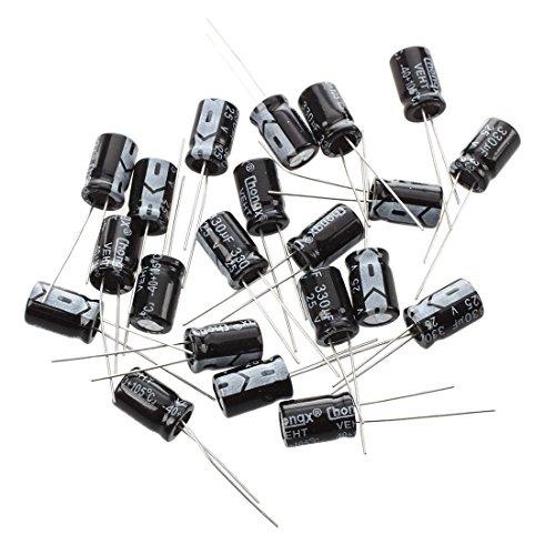 RETYLY R 20 x 330uF 25V 105°C Radiale Elektrolyt Kondensatoren 8 x 12 mm - Spannung Polypropylen Kondensator