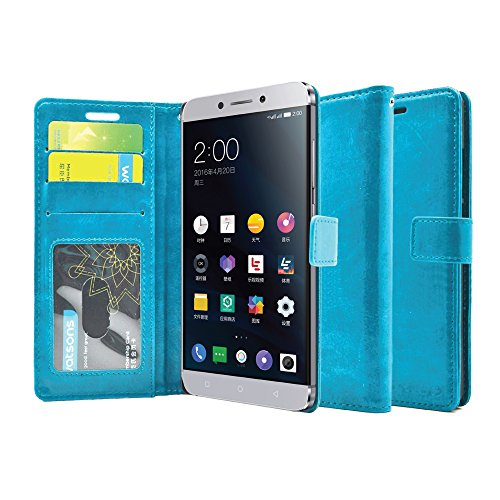 FOSO(™) LeEco Le Max 2 High Quality PU Leather Magnetic Flip Cover Wallet Case(Blue)